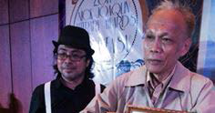 "(L-R, Joel Salud, editor-in-chief of Philippines Graphic, and Cesar Ruiz Aquino) Silliman University's own Cesar ""Sawi"" Aquino was named Poet of the Year during the 2014 Nick Joaquin Literary Awards last Sept. 12 at Ramon Magsaysay Center. PHOTO BY Krip Yuson"