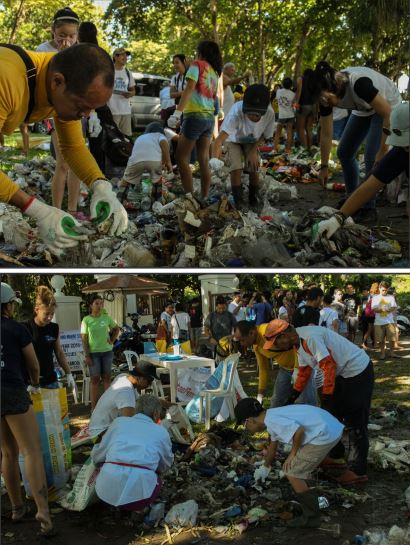 ONE FOR THE OCEAN. Sillimanians join the 32nd simultaneous International Coastal Clean Up and Brand Audit alongside other volunteers last Sep. 16, 2017 from Escaño Beach to Silliman beach. PHOTOS BY KENNO ELUM AND AL REMUEL TUBONGBANUA