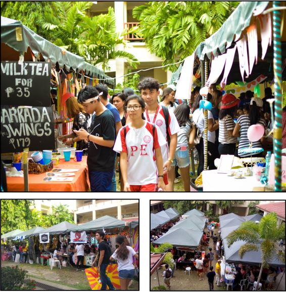 "POTENTIAL ENTREPRENEURS: Grade 12 sudents under Science, Technology, Engineering, Agriculture, and Mathematics (STEAM), Accountancy, Business, and Management (ABM), and Humanities and Social Sciences (HUMSS) academic tracks sell variety of products like food, decoration and artworks last Sep. 11-13 at Ausejo Hall grounds. The ""Negosyo Fair"" is part of their fnal output for their Entrepreneurship subject. PHOTOS BY JILL C. SILVA, HANNAH DIANE E. BENGCO AND AL REMUEL B. TUBONGBANUA"