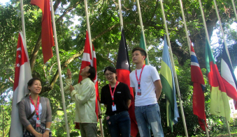 UNITY IN DIVERSITY. Silliman University's international students raise their respective country's flag at the grounds of Leopoldo T. Ruiz Hall last Nov. 20, to acknowledge diversity of cultures in the campus. The raising of the flags is usually done every semester, but according to Moses Atega from the International Studies department, this time the flags are raised once a year. PHOTO by Hannah Diane Bengco