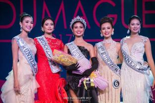"SILLIMAN BEAUTIES: Sillimanians win four of five spots in the ""Royal Court"" of Miss Dumaguete 2017 pageant. From left to right: 3rd runner up Maydel Faburada, 1st runner up Ellisse Anne Dolleton, Miss Dumaguete 2017 Lexandrea Dela Cerna , 2nd runner up Vanessa Garner, and 4th runner up Nastassja Amigo. PHOTO FROM Miss Dumaguete 2017 Facebook Page"